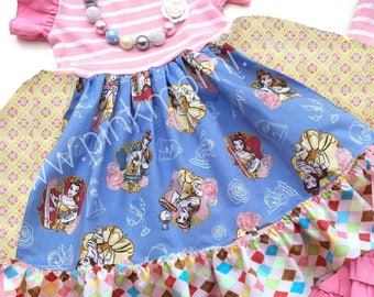 Belle dress Beauty and the Beast Disney movie clothing girls toddler outfit dress Momi boutique custom dress