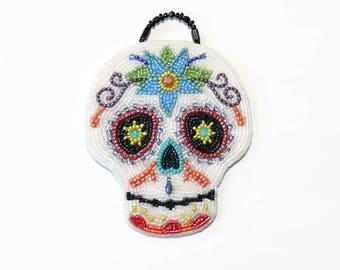 Day Of The Dead Sugar Skull Ornament Multi-Blue Beaded Dia De Los Muertos Wall Hanging Art Sculpture Calavera DOTD *Ready To Ship