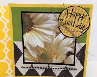 Yellow Daisy Diamond Handmade Birthday Card