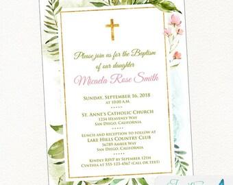 Botanical Baptism Invitation | Green Leaves Invitation, girl  baptism, flower baptism, communion, baby, christening, printable invitation