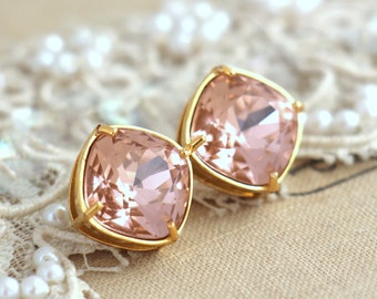 Blush Earrings, Blush Pink Earrings, Bridal Blush Eaeeings, Blush Stud Earrings, Bridesmaids Earrings, Gift For Her, Moranite Studs Earrings
