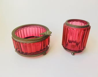 Vintage Murano Glass/Vintage Italian Glass/Vintage Cranberry Glass/Cranberry Glass With Brass Fittings/Footed Cranberry Glass/Ashtray/Italy