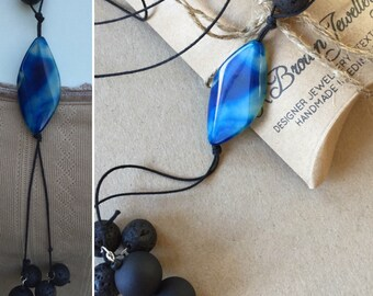 Agate YNecklace,Blue Agate YNecklace, Lava stone YNecklace, Handmade Gemstone YNecklace, Edinburgh Jewellery Designer, K Brown Jewellery UK