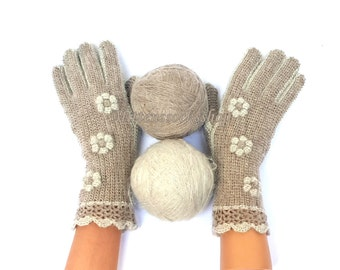 Beige White Gloves with Fingers Mohair Gloves Beige Women's Finger Gloves Beige Girl's Gloves Hand Knitted Mohair Gloves Fingerless Gloves