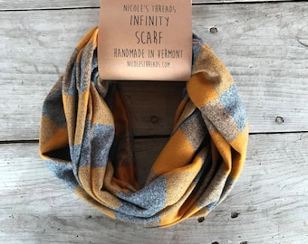 READY TO SHIP Infinity Scarf - Plaid - Flannel - Oversized - Mustard Yellow and Grey - Gray - Buffalo Plaid- Warm - Winter- Cozy - Unisex