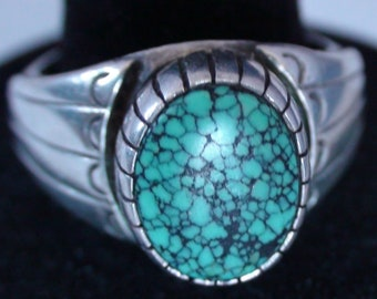 Native American Navajo Sterling Silver Turquoise Stone Ring Size 11