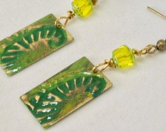 Fern Earrings, Leaf Earrings, Fern Jewelry, Leaf Jewelry, Nature Inspired Jewelry, Patina Earrings, Green Earrings, Gift for Outdoors Lover