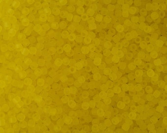 Seed Beads 11/0 Transparent Frosted Lemon - Glass Beads for Jewelry Making - TOHO Seed Beads - 11/0 Round Beads - TOHO Glass Beads 11/0 10g