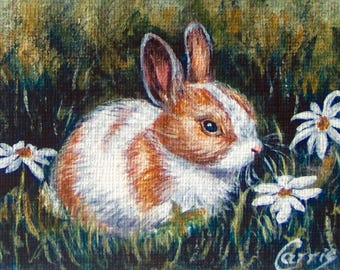 ACEO Bunny Rabbit Print Limited Edition Easter signed numbered Glicee