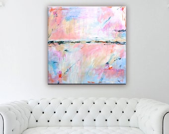 Abstract Painting Print Large, Abstract Art Canvas Print, Coral Peach, Pastel Abstract Wall Art, Large Abstract