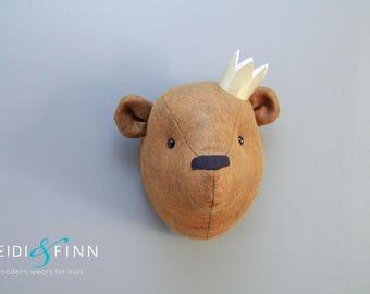 Teddy Bear Faux Taxidermy wall decor bear head room nursery brown bear art