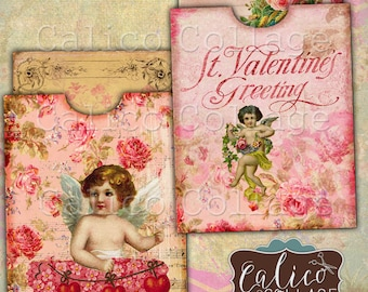 Valentines Day, Digital Printable Collage Sheet, Digital Pocket, Journal Cards, Junk Journal, Digital Tags, Smash Book, Cupid Ephemera