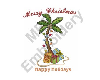 Merry Christmas - Machine Embroidery Design, Christmas, Happy Holidays, Palm Tree, Tropical