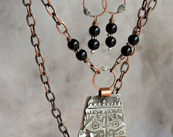 Onyx Necklace & Earring Set ~ The Lost Temple