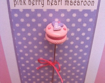 Pink Berry Heart Macaroon Macaroon Pin Topper