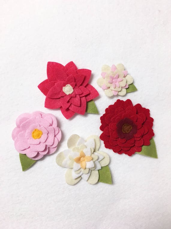 Felt Flowers, Loose Flowers for Crafting and Decor, Bright Pink Flower Blooms, Wedding and Party Decoration