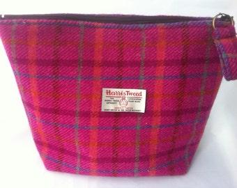 Ladies Harris tweed pink wash bag sponge bag Woman gift Scottish tartan bridesmaid wedding make up