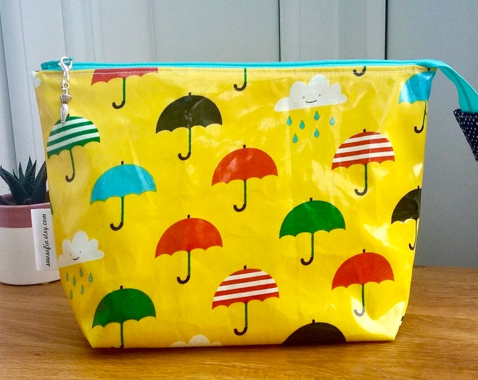 Yellow Umbrellas Wipe Clean Wash Bag
