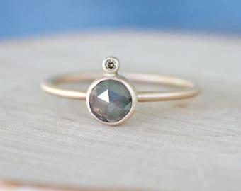 Rose cut diamond ring, brown grey rose cut diamond, 14k solid gold engagement ring, chocolate diamond accent,  Rachel Wilder