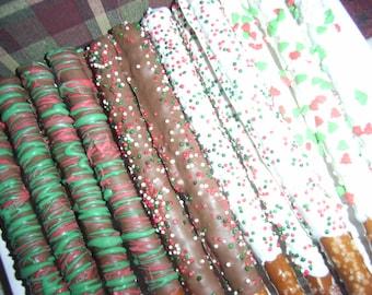 Gourmet Chocolate Covered Christmas Pretzel Rods