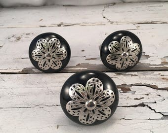 Round Black Ceramic Knobs, Decorative Pull Knob With Silver Metal Apron, Ceramic Dresser Drawer Pulls, Item #