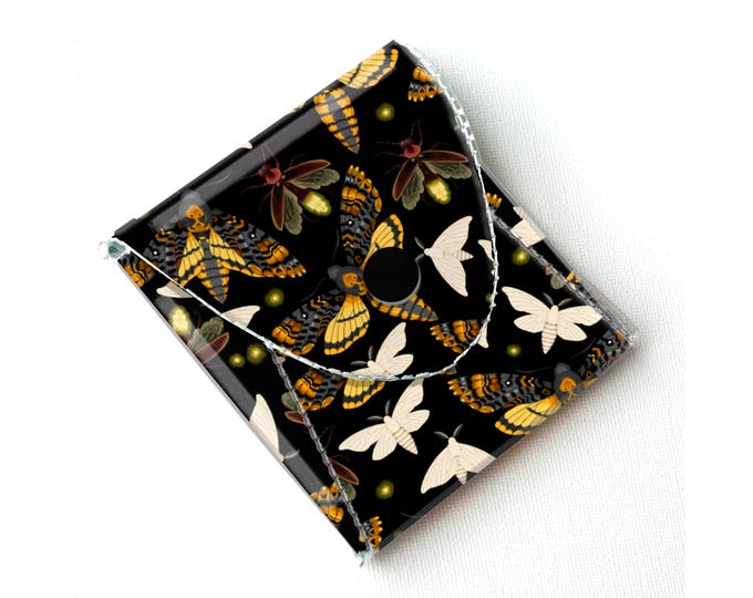 Vinyl Coin Purse - Moths and Fireflies / butterfly, insect, butterflies, black, wallet, vegan, change, snap, small, pocket wallet, gift