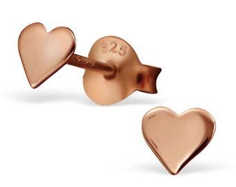 Tiny Rose Gold Heart Earrings, tiny stud earrings, children earrings, baby earrings, cartilage earring, sister gift. gift for friend
