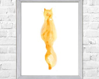 Cat Watercolor Print, Cat Art, Cat Print, Cat Watercolor, Watercolor Painting, Watercolor Animal, Cat Poster Print ,Home Art Decor