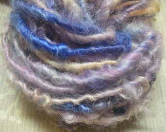 Handspun Hand Dyed Curly Textured Leicester Longwool Bulky Art Yarn in Pastels and Bright Blue for Knitting Crochet Weaving by KnoxFarmFiber