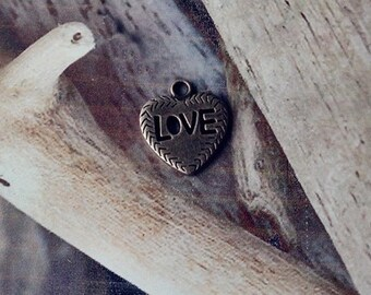 2 charms antique bronze metal hearts love