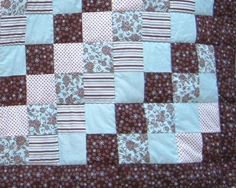 Twin Quilt in Blue and Brown for Boys