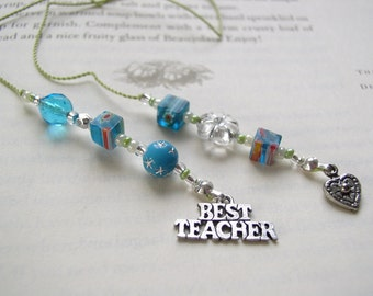 TEACHER GIFT Bookmark - Bright and Fun Aqua Blue Beaded Book Thong with Pewter Charms