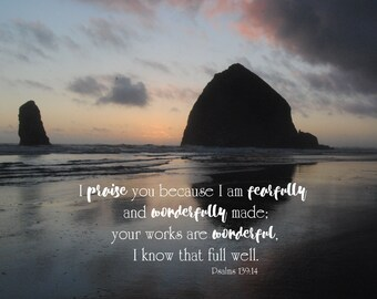 Psalms 139:14 / 4x4 print / Square / Bible Verse / Inspirational / Instant download / Wonderfully and fearfully made