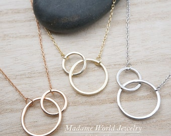 Sterling Silver Interlocking Circle Necklace, Karma Necklace, Intersecting Circles, Eternity Necklace