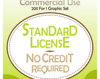 ON SALE No credit require License,Standard License,for clip art and graphics,Commercial Use