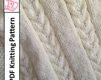 Baby Blanket Knitting Pattern, PDF Knitting Pattern - Double Cable Baby Blanket, throw, afghan 28 x 36