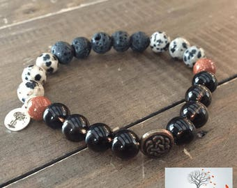 "Natural Stone Elastic Bracelet - ""Purpose in the Chaos"" (Smokey Quartz, Dalmatian Jasper, Goldstone, and Lava Rock)"