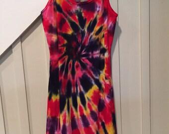 Tye dye dress, Hand dyed dress, Cotton dress, Spagetti strap dress, Groovy dress, hippie dress