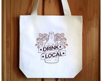 Drink Local Tote Bag Embroidered Canvas - Brown Ombre Shopping Beer Ale Bag, Real Ale Beer Lover CAMRA Home Brew Hops Cask Ale Gift, 3562