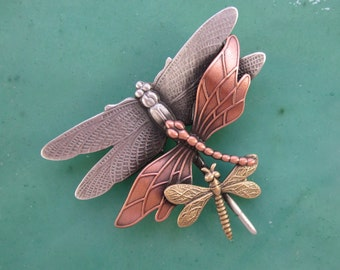 Dragonfly Brooch- Dragonfly Pin- Dragonfly Jewelry- Dragonflies- mixed metal jewelry