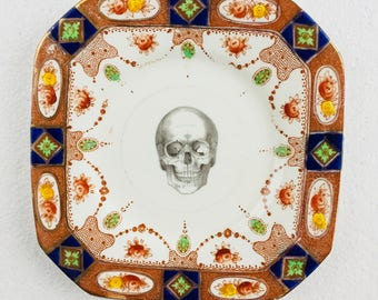 Skull Cake Tea Plate Brown Blue Green Flowers Pattern White Vintage Bone China Made in England Wedding Anniversary Gift Wall Art Collage