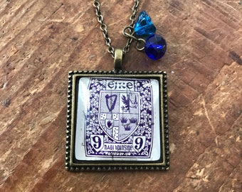 Vintage postage stamp pendant necklace Eire Iteland
