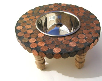 Copper Posh Diner, dog feeder, raised cat bowl