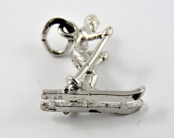 Cross Country Skier Silver Charm of Pendant.