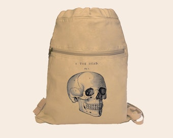 Awesome Vintage Skull Anatomy Diagram Illustration, The Head, Canvas Cinch Sack Backpack