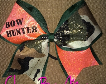 BOW HUNTER Blaze Orange and Camouflage Cheer Bow