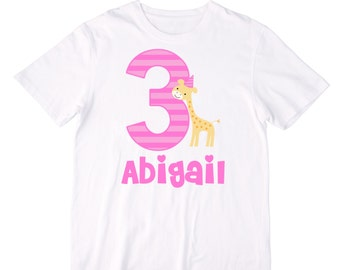 Personalized Giraffe Birthday Shirt or Bodysuit - Personalized with ANY Name and Age