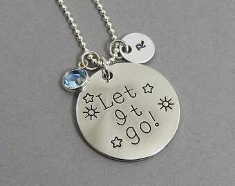Let It Go - Frozen Necklace - Personalized Initial Name, Customized Swarovski crystal birthstone