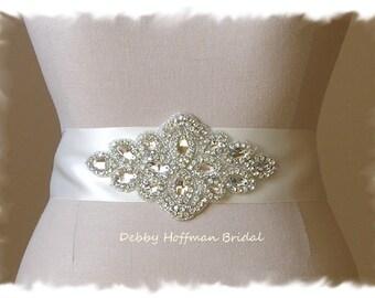 Rhinestone Crystal Beaded Wedding Sash, Crystal Bridal Dress Sash, Jeweled Bridal Sash, Wide Bridal Belt, No. 3060S2.25, Wedding Belt Sash