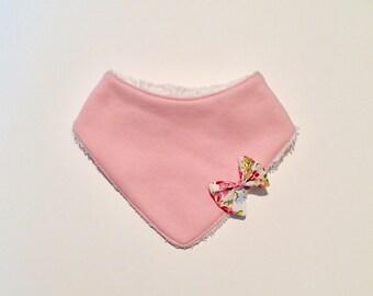 Liberty bow and pink bandana bib / baby / baby / gift / birthstone. French manufacturing